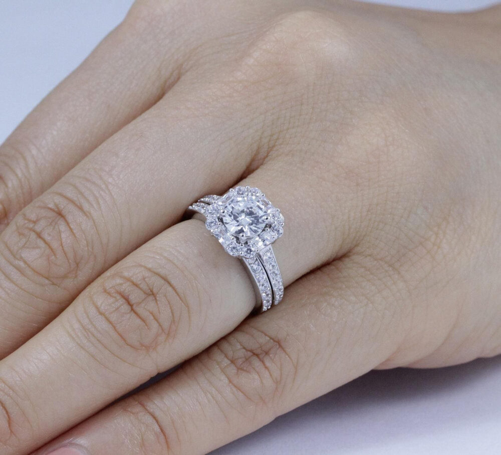 925 Sterling Silver Cz Stone Diamond Simulant Wedding Band Engagement Ring Bridal Rings Set For Women Half Size Available 3-12 Ss059