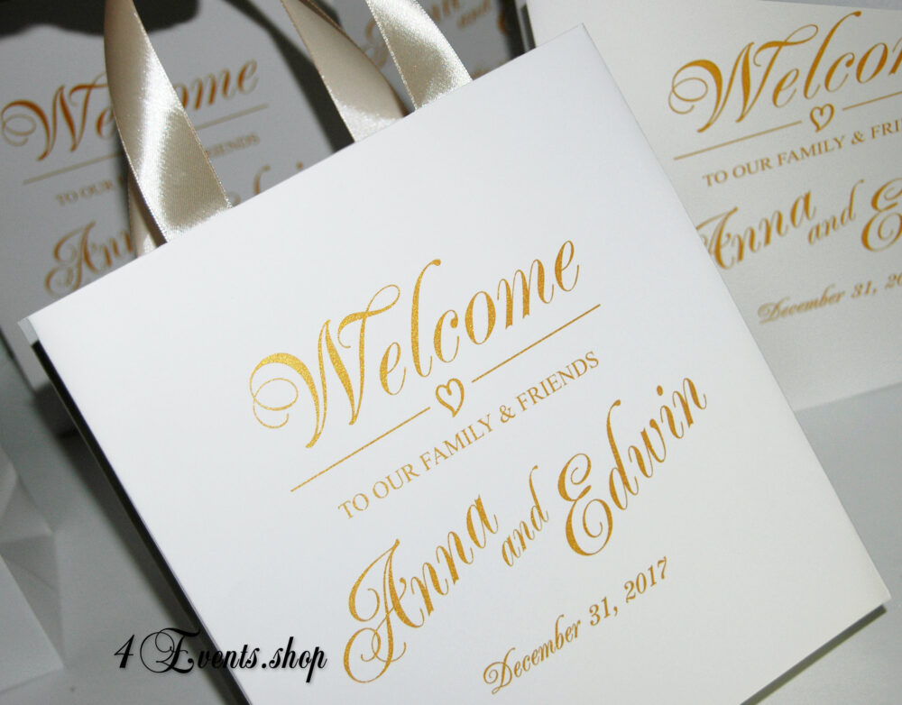 35 Wedding Welcome Bags With Champagne Satin Ribbon Handles & Gold Names - Elegant Personalized Wedding Gifts Favors For Guests