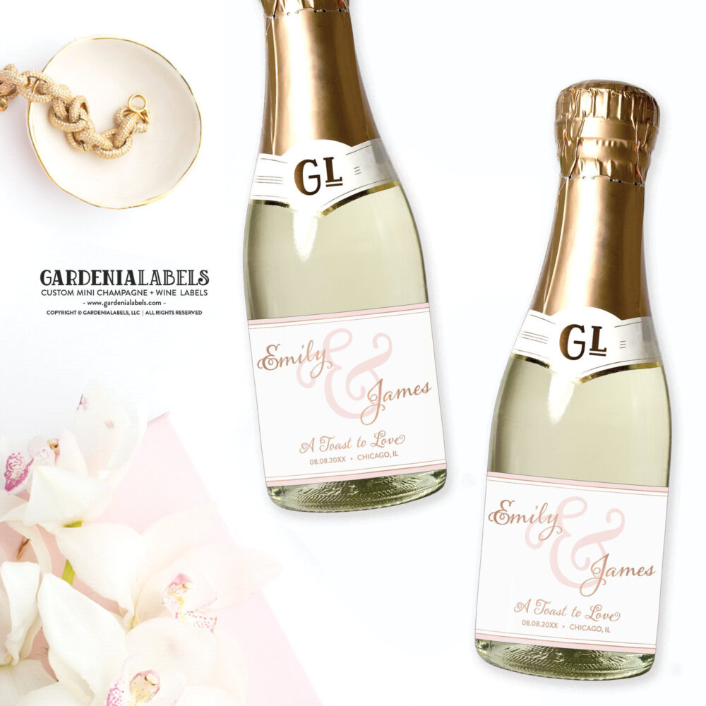 Mini Champagne Labels For Wedding Favors, Engagement Party Favor, Couples Shower Rehearsal Dinner Wine Label, Gift