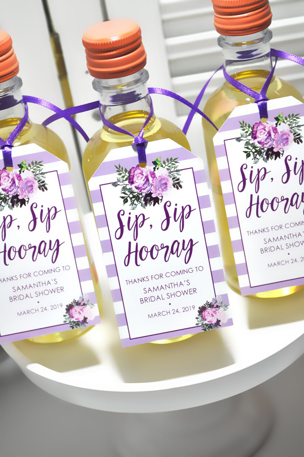 Bridal Shower Favor Tags For Mini Wine Bottles, Wedding Favors, Champagne Tags, Personalized Wedding, Purple Floral - Set Of 12