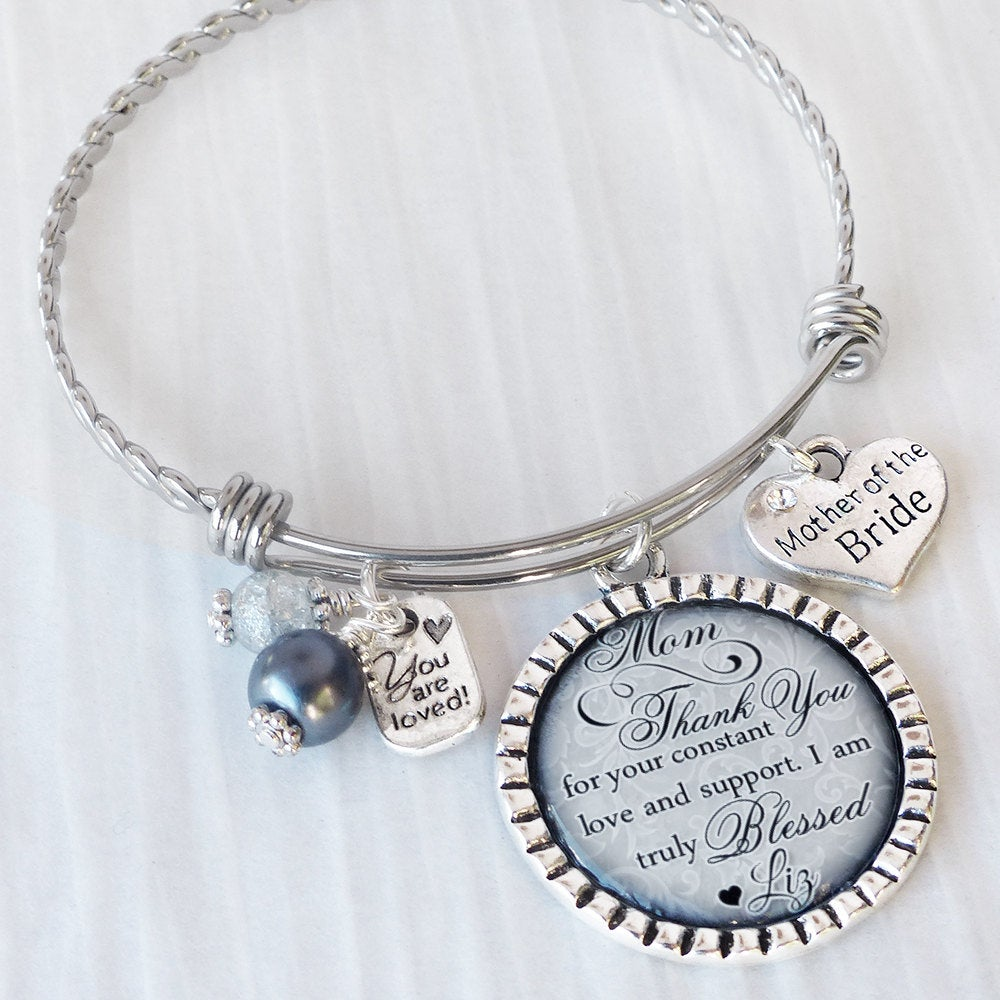 Mother Of The Bride Gift - Expandable Bangle Bracelet - Gift From Bride-Wedding Jewelry-Thank You For - Personalized Wedding Jewelry - Couple
