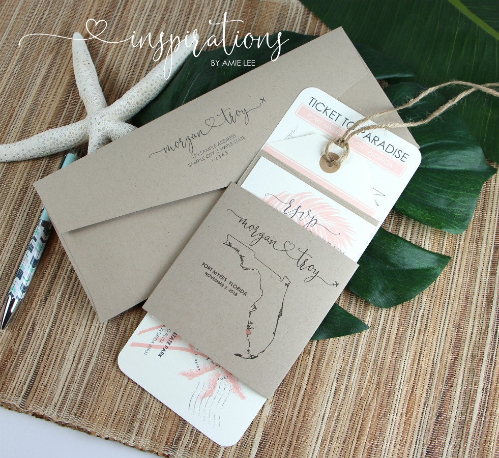 Boarding Pass Wedding Invitations, Destination Wedding, Tropical Island Florida Airplane Ticket, Travel Theme, Beach