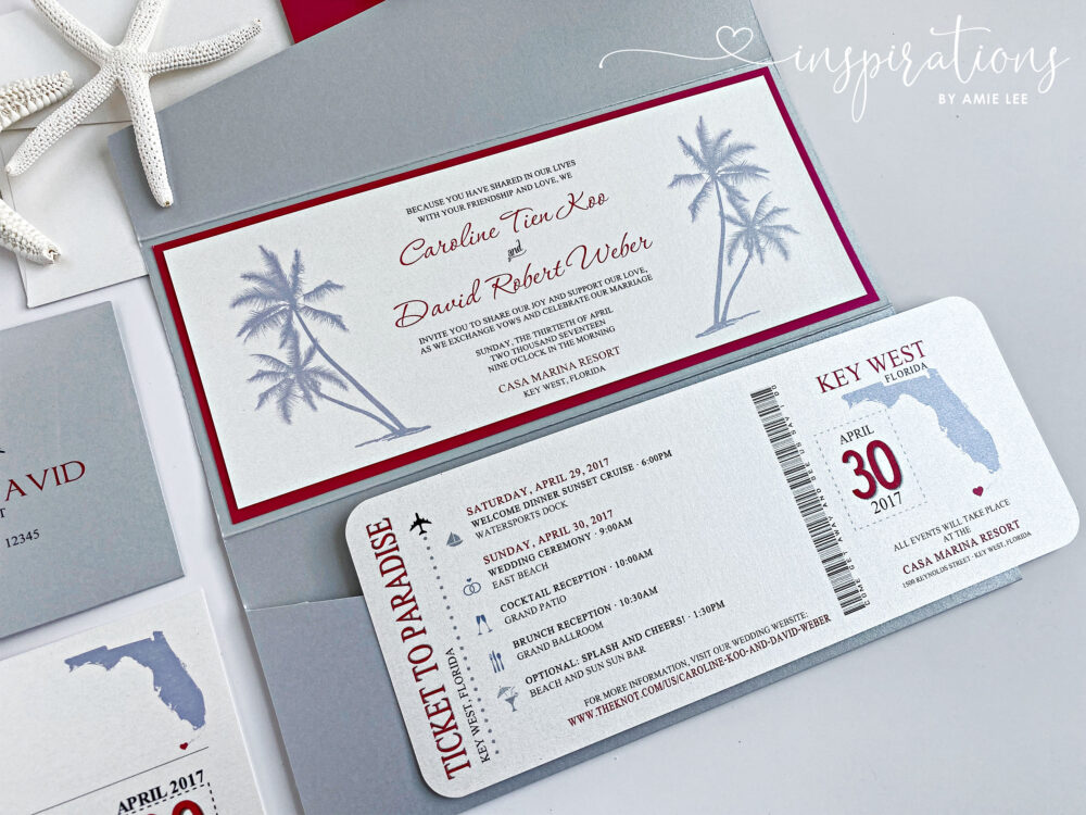 Boarding Pass Wedding Invitations, Destination Wedding, Airplane Ticket, Beach Florida Ticket To Paradise, Plane