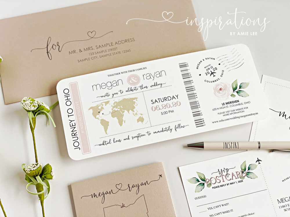 Boarding Pass Wedding Invitations, Destination Wedding, Airplane Ticket, Beach Travel Theme, Ticket