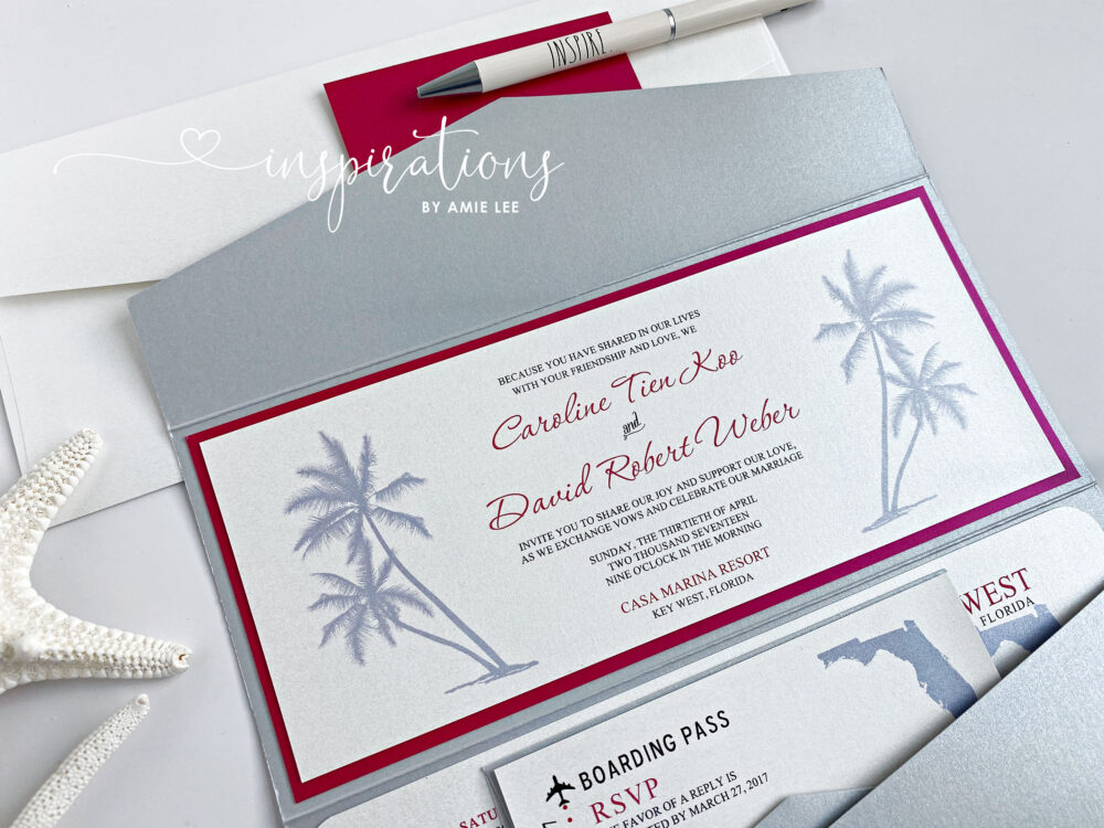 Boarding Pass Wedding Invitations, Tropical Destination Wedding, Island Beach Travel Ticket Invitations