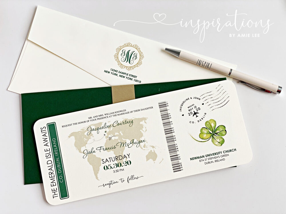 Boarding Pass Wedding Invitations, Destination Wedding, Airplane Ticket, Travel Theme, Irish Ireland, Plane Ticket Invitation