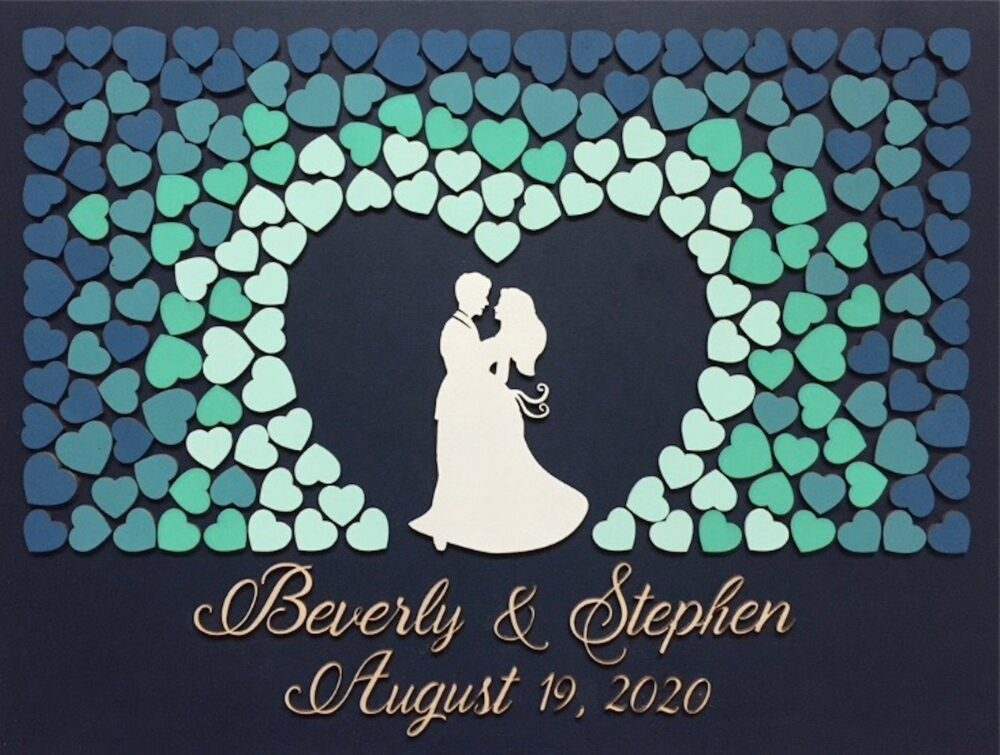 3D Wood Wedding Guest Book Alternative Unique Sign in With Couple Embracing & Blue, Teal, Turquoise, Aqua Ombre Hearts To