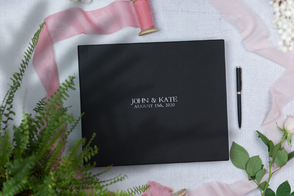 Black Wedding Guestbook With Silver Emboss | Premium Guest Book Carbon Color