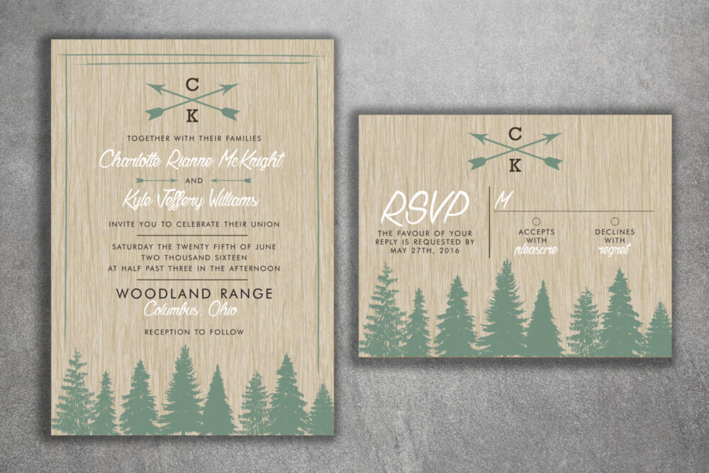 Woods Rustic Tree Wedding Invitation Set Printed, Country Invitations, Woods, Outdoors, Affordable, Pine Trees