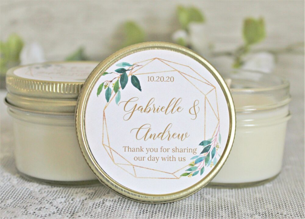 Wedding Favors Candles/Greenery & Gold Favor Set Of 6 - 4 Oz. Candle Personalized Elegant