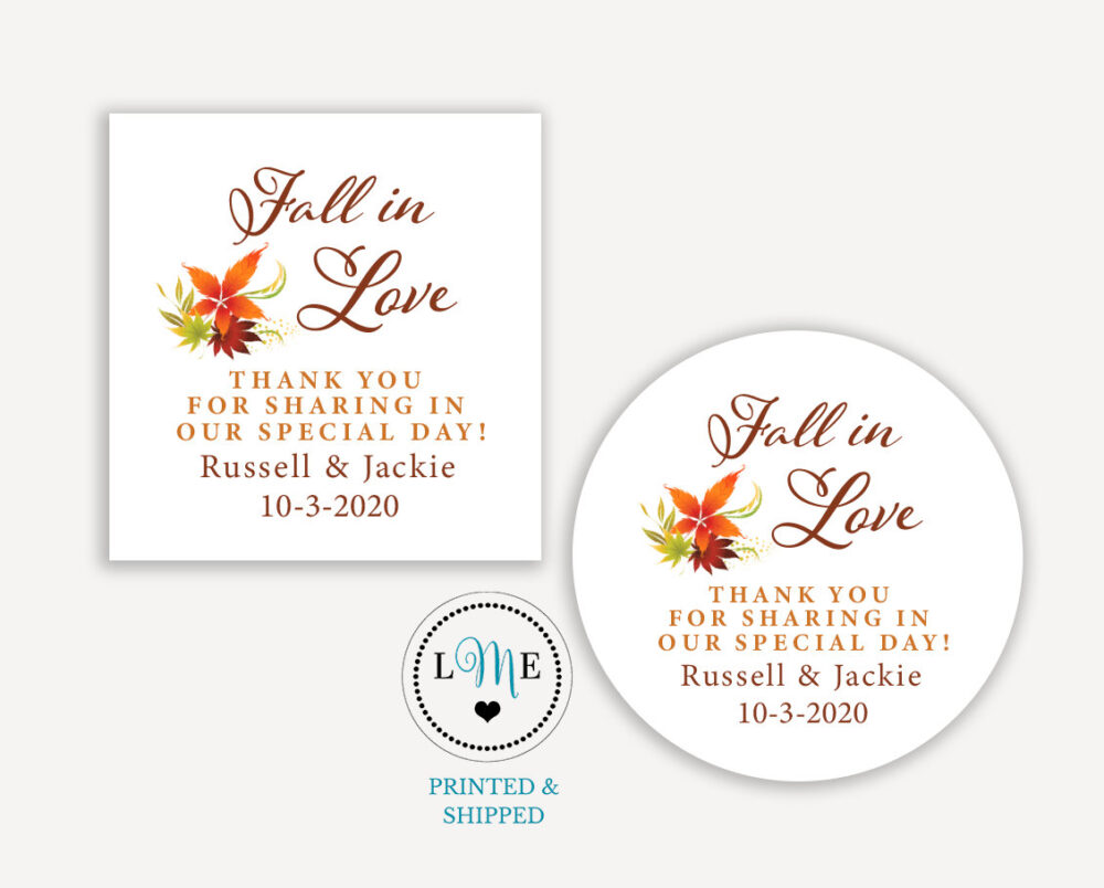 Fall in Love Wedding Favor Labels, Autumn Thank You Stickers, Sticker Personalized