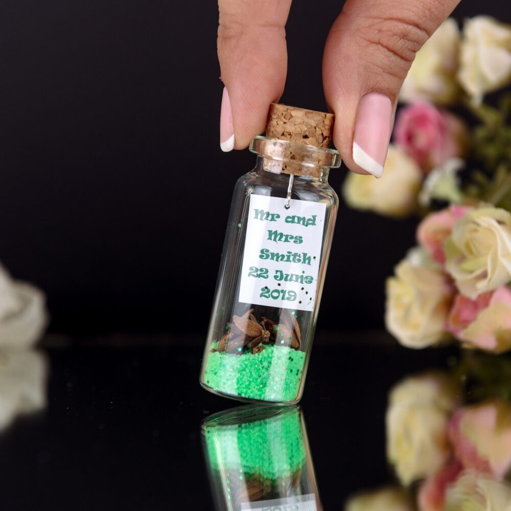 Greenery Spring Summer Wedding Favors For Guests, Thank You Gifts, Bachelorette Party, Bridal Shower Favors, Message in A Bottle Mint Green