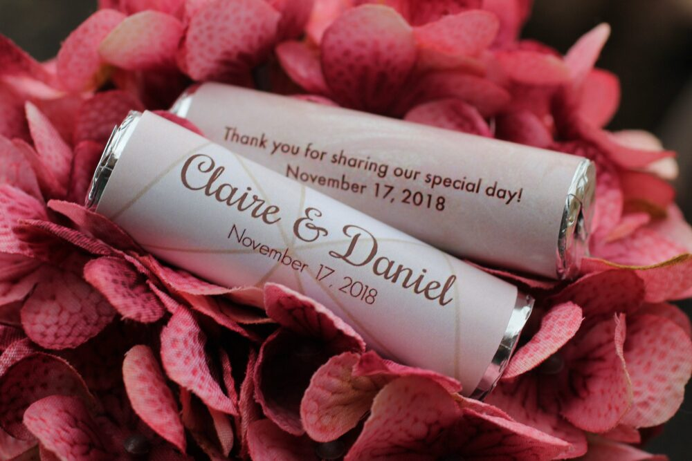 Geometric Wedding Favors, Winter Mint Rolls With Personalized Wrappers, Thank You For Sharing Our Special Day