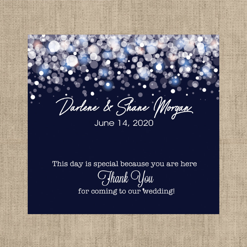 Winter Wedding Favors, Candy Bar Wrappers, Navy Blue & White Snowflakes, Bridal Shower | Set Of 12