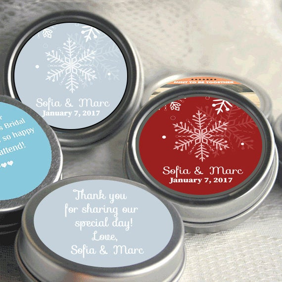 Winter Wedding Favors - For Guests Thank You Gift Snowflake Wonderland Christmas