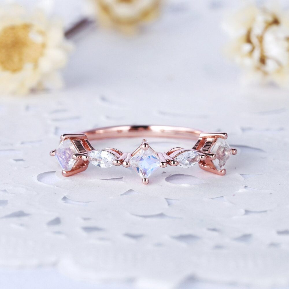 Princess Cut Moonstone Marquise Cz Diamond Wedding Ring Rose Gold Engagement Stackable Women Bridal Statement Anniversary Band Gift