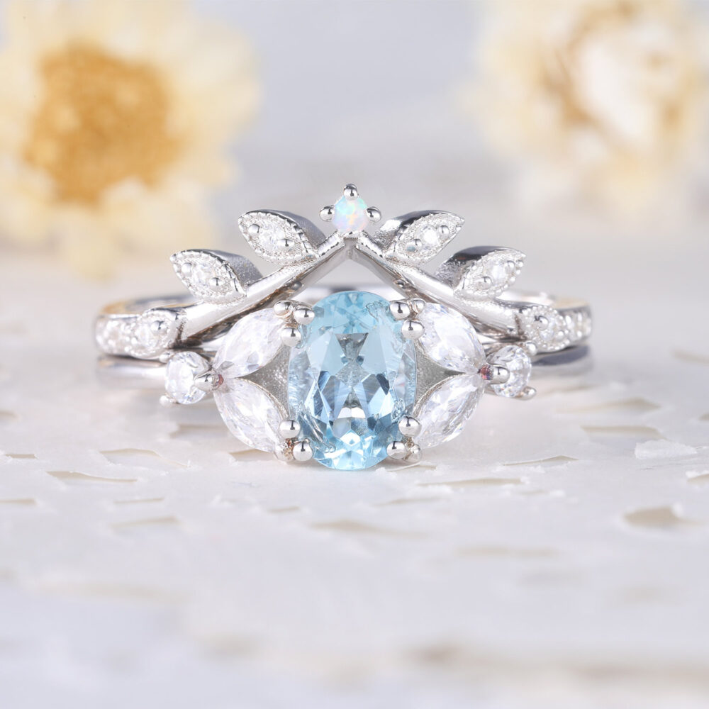 White Gold Aquamarine Cz Diamond Women Bridal Ring Set Twig Leaf Stackable Matching Band Marquise Art Deco For Statement Wedding Engagement
