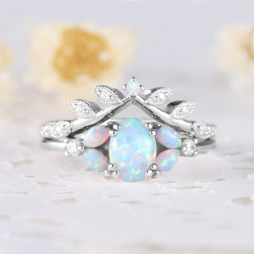 White Gold Opal Cz Diamond Women Bridal Ring Set Twig Leaf Stackable Matching Band Marquise Art Deco Statement Wedding Engagement Jewelry
