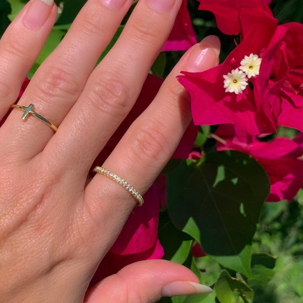 Full Eternity Band Ring | Rose Gold Micropave Cubic Zirconia Silver Wedding Ring