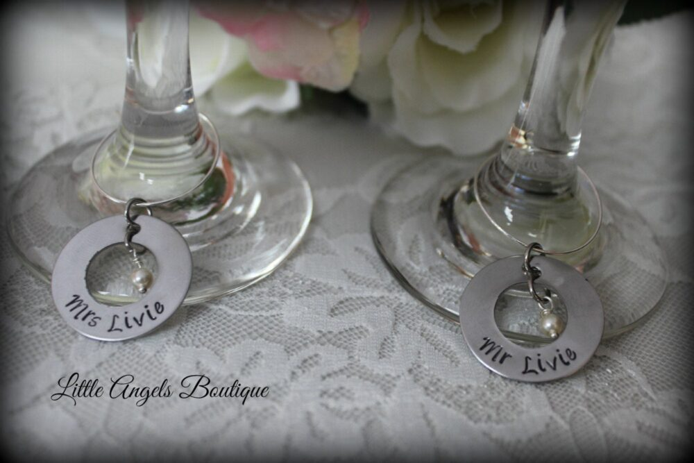 Wedding Wine Glass Charms Personalized Bride Groom Pair Hand Stamped Pearl Wa010