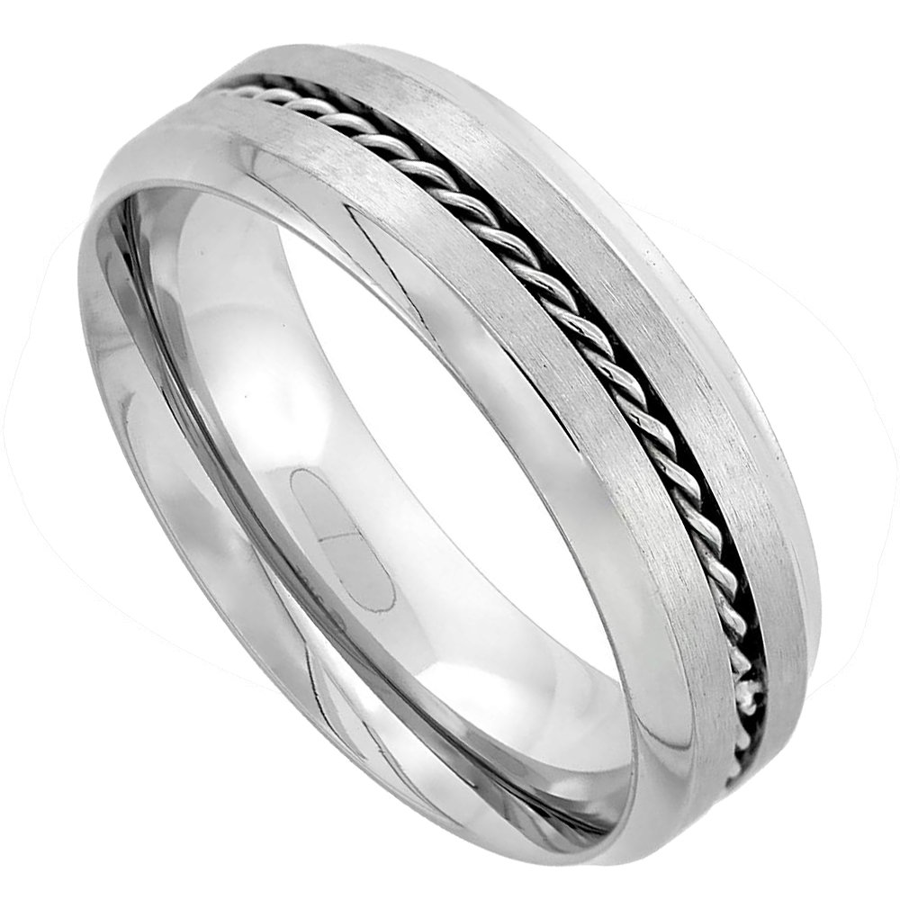 Stainless Steel 7mm Rope Inlay Wedding Band Ring Matte Finish Concaved Edges Comfort Fit