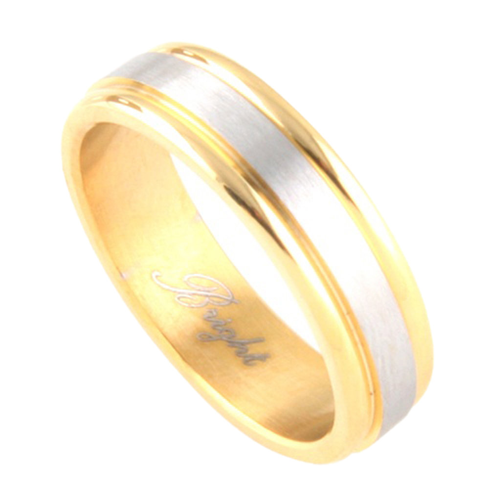 Custom Engraving 6mm Stainless Steel Ring 316L Gold Silver Two Tone Band/Gift Box Ship From Usa(Brsr-373