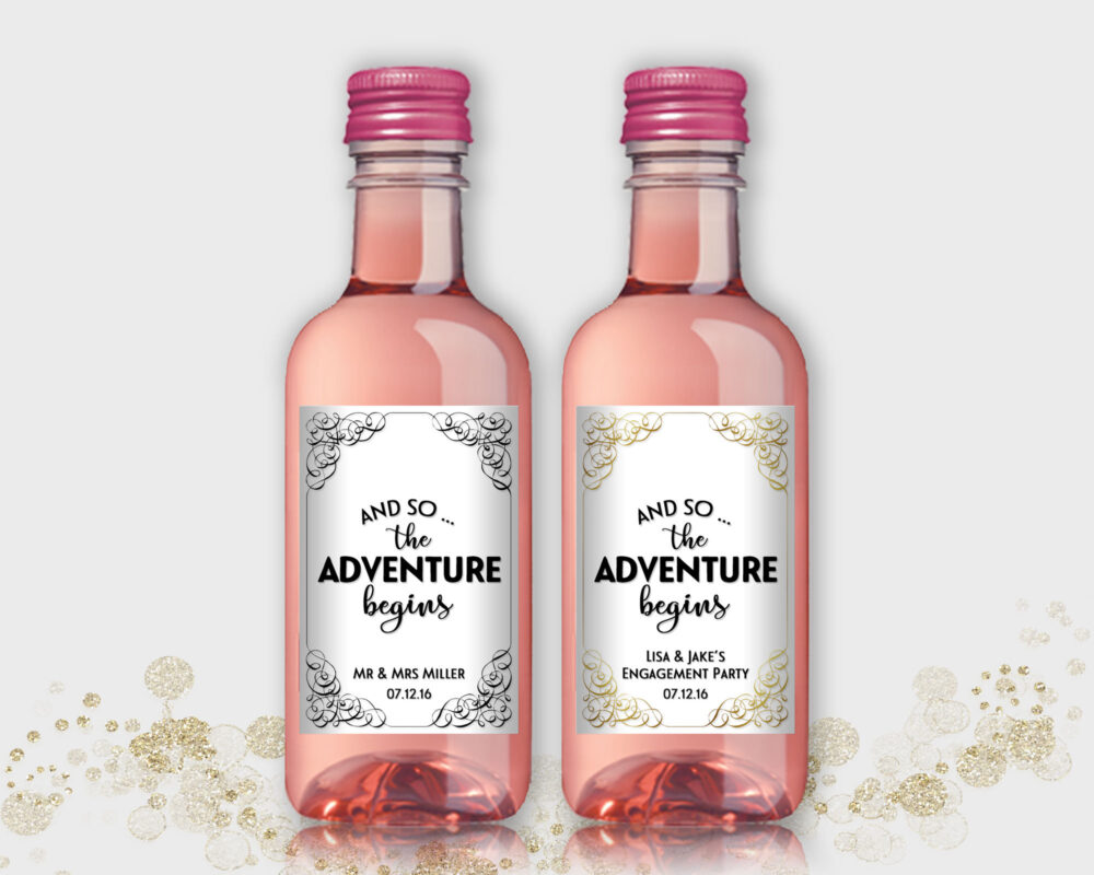 Wedding, Engagement Party Favor - Customized Mini Wine Bottle Labels The Adventure Begins, Diy Print, Printable Pdf