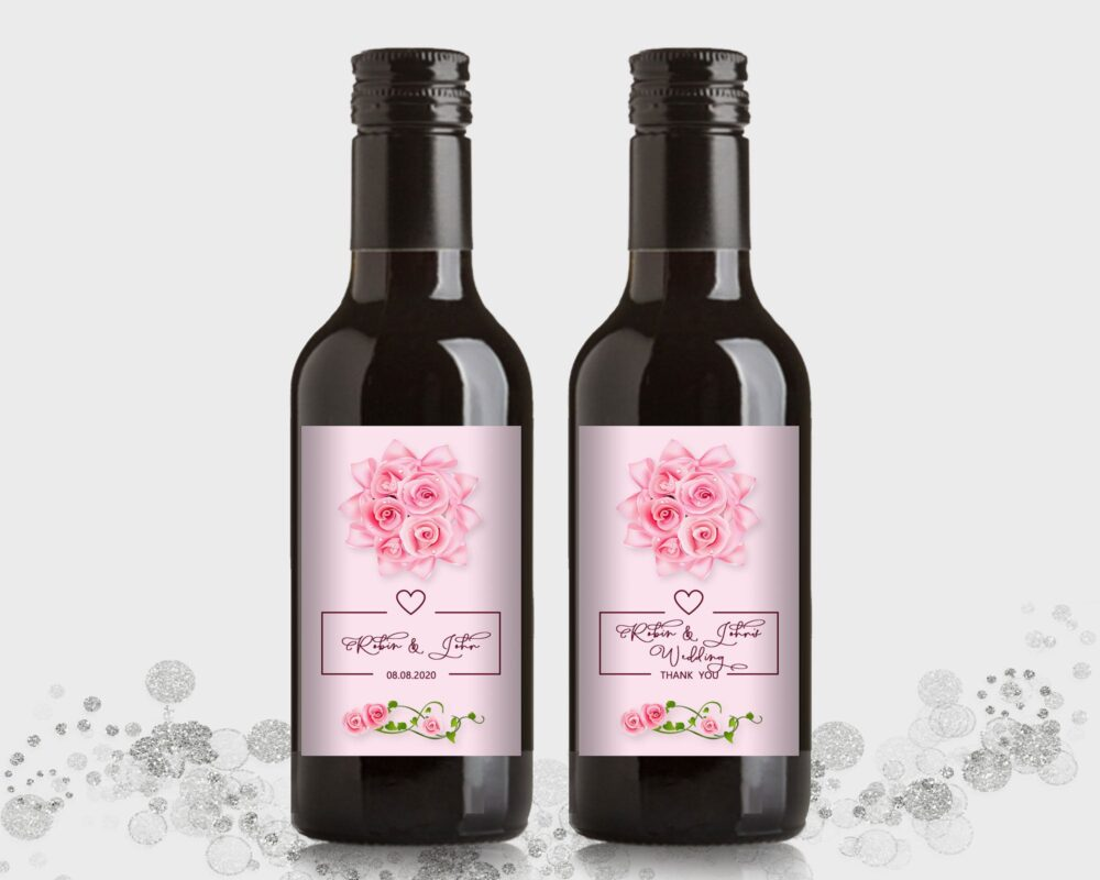 Wedding Or Engagement Party Favor, Customized Mini Wine Bottle Labels - Pink Rose, Diy Print, Printable Pdf