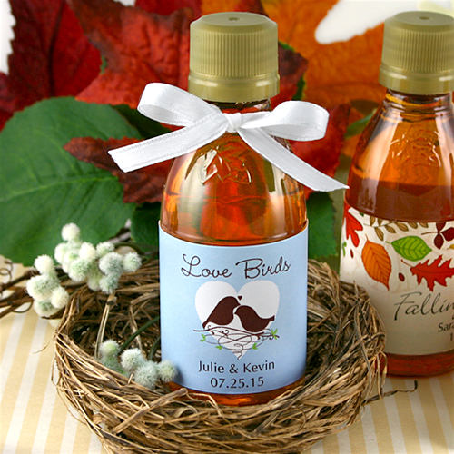 Fall Wedding Favors, Personalized Maple Syrup Favors - Set Of 12