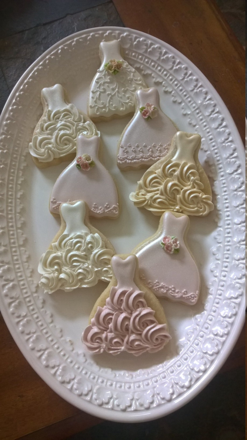 15 Pieces Petite Sized Wedding Dress Cookies - Cookie Favors, Cookies, Bridal Shower Wedding Gown Cookies