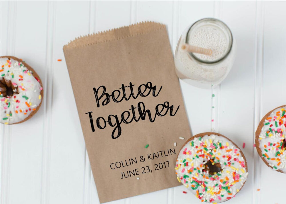 Better Together Wedding Cookie Bags - Candy Buffet Sacks Custom Favors 25 Printed Paper Recycled Kraftpaper