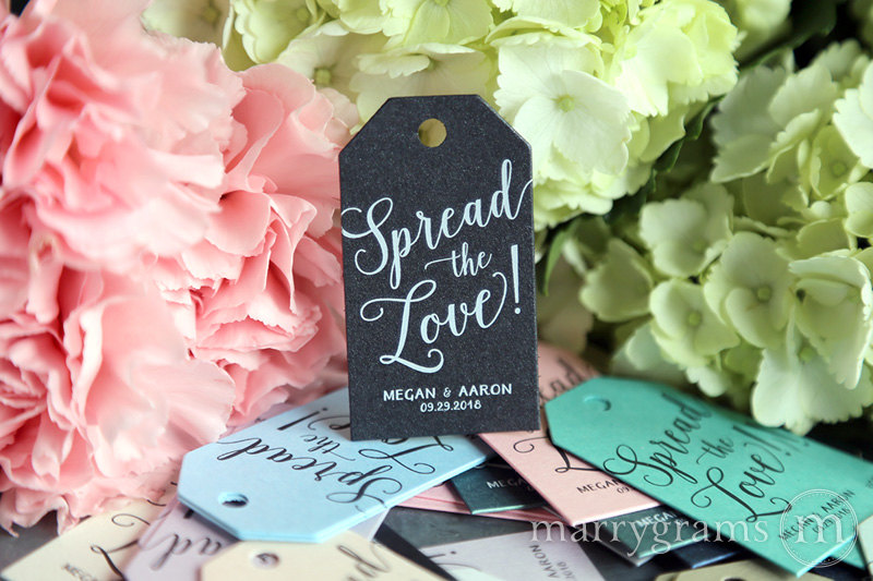 Wedding Favor Tags Spread The Love Custom Personalized Names & Date Thank You -Perfect For Jam, Honey, Jelly, Butter Bulk Listing