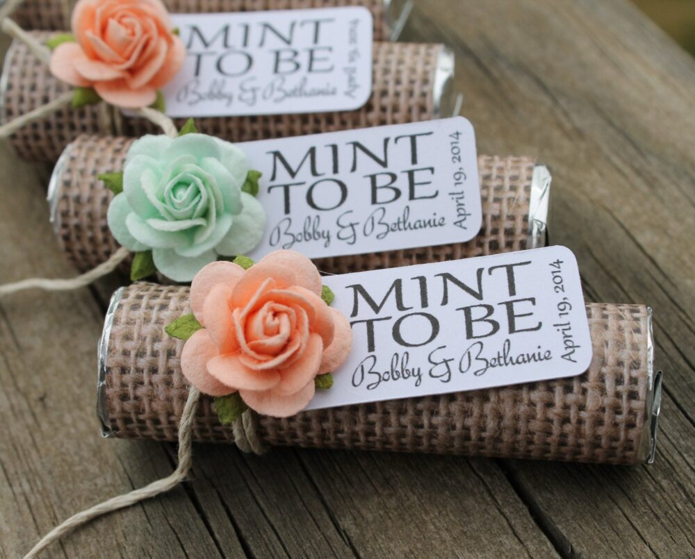 "Mint Wedding Favors - Set Of 24 Mint Rolls ""Mint To Be"" With Personalized Tag Burlap, & Peach, Rustic, Shabby Chic"