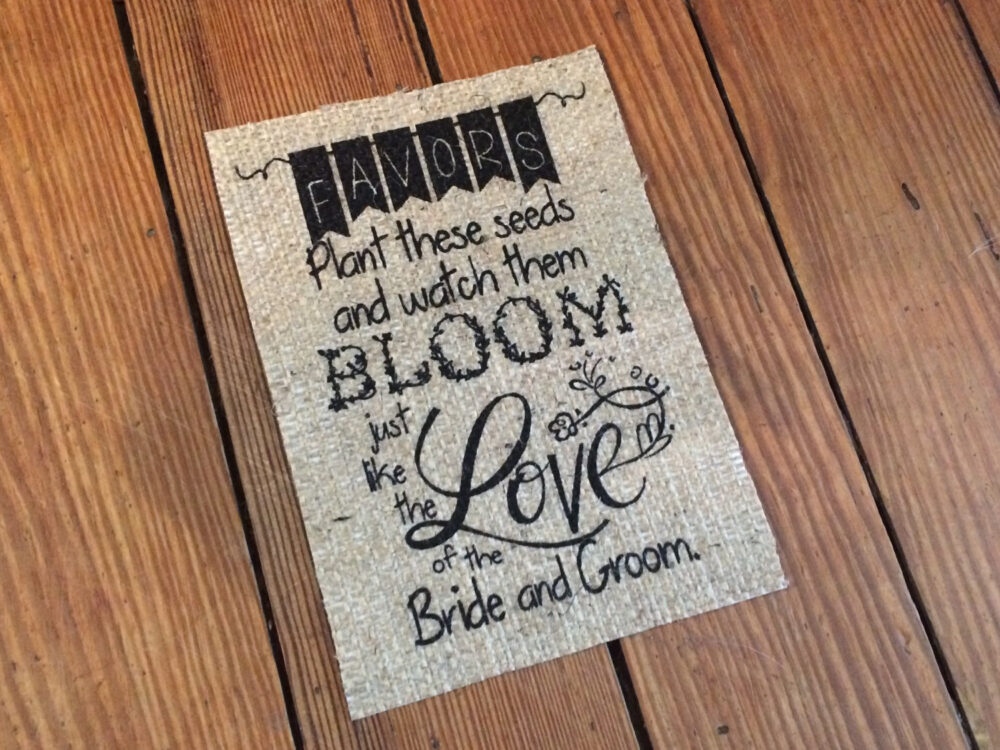 "Wedding Favors Burlap Sign - ""Take These Seeds & Watch Them Bloom, Just Like The Love Of The Bride Groom"" Rustic Marriage Decor"