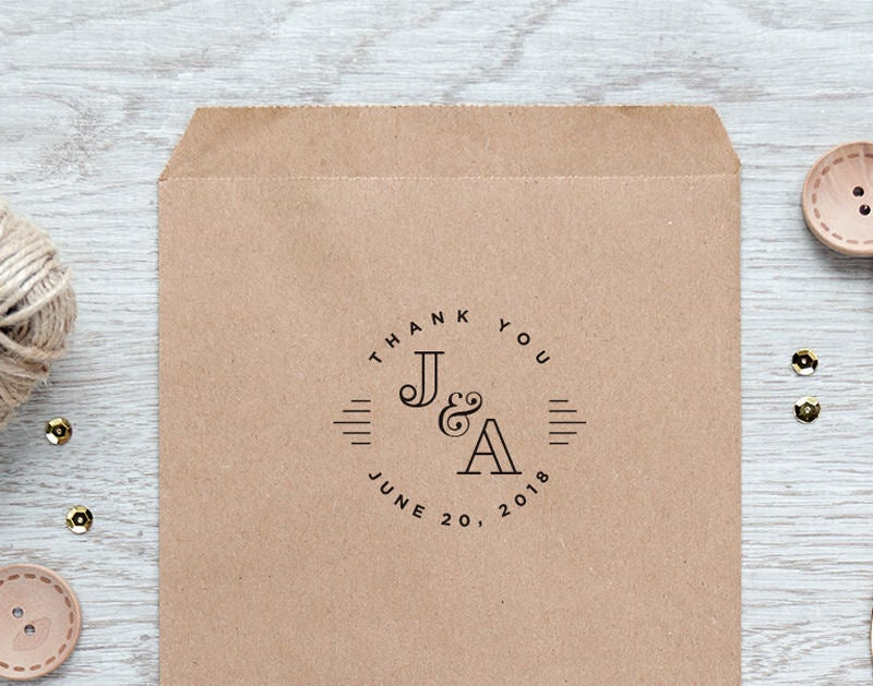 Retro Wedding Stamp, Monogram Thank You Vintage Favor Stamp Aws104B