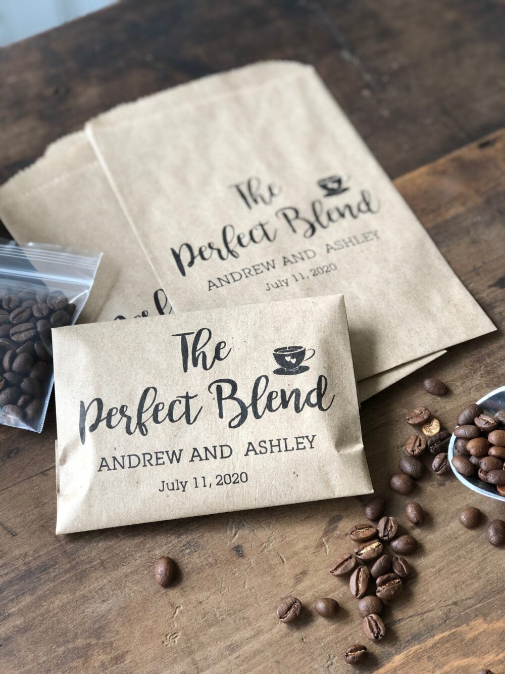 Coffee Favor Bags- Wedding Favors - Bridal Shower Favors- Bean Espresso Set Of 25 Custom Paper Bags The Perfect Blend