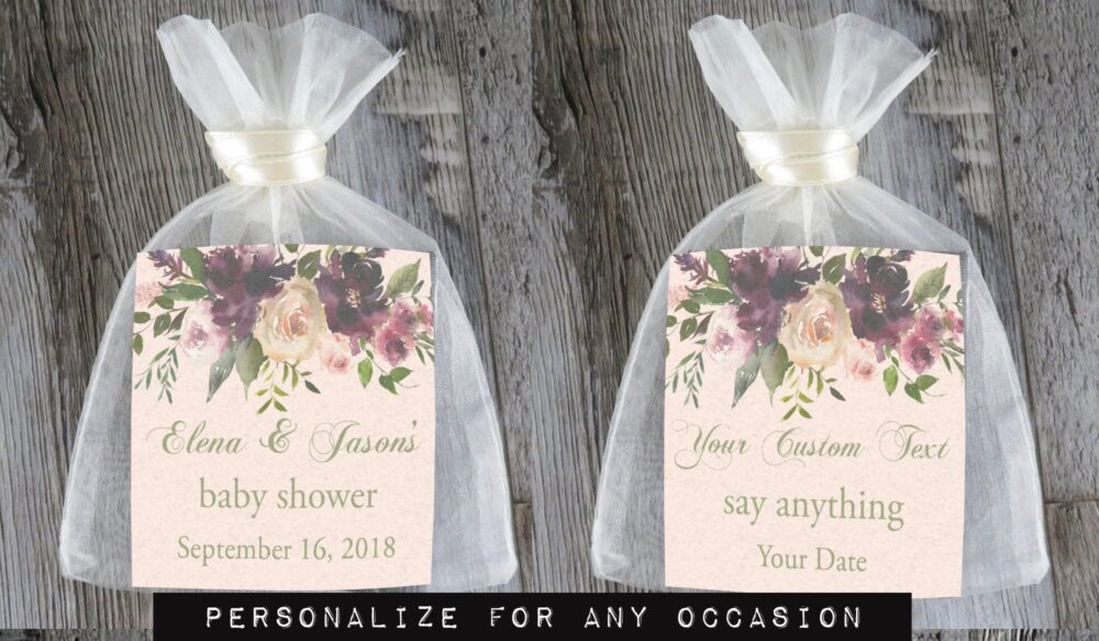 Tea Favors 10 Personalized & Fully Assembled | Any Occasion Wedding Favor Party Bridal Shower Marsala & Blush - Tf Mar
