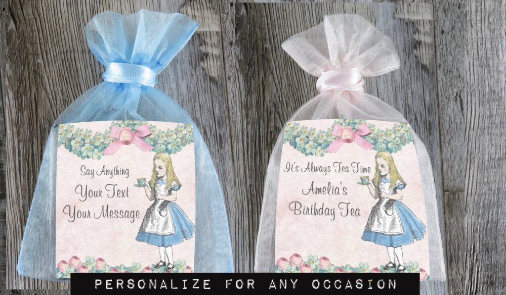 Tea Favors Personalized & Fully Assembled | Any Occasion Alice Favor Wonderland Party Bridal Shower - Tf Fa