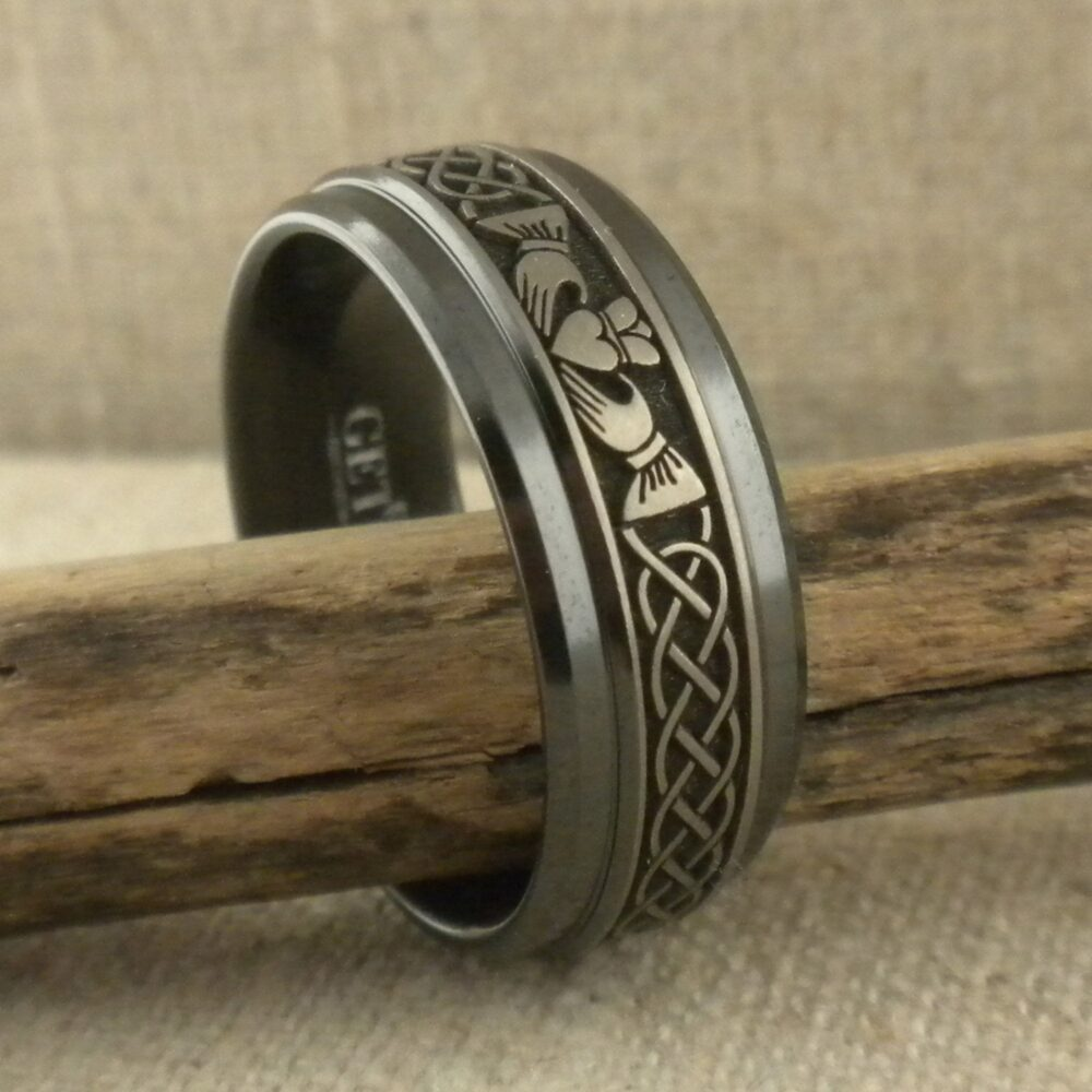 Claddagh & Celtic Knot Wedding Ring in Black Zirconium Choice Of Width Made The Uk By Geti Band Sizes 5 To 15