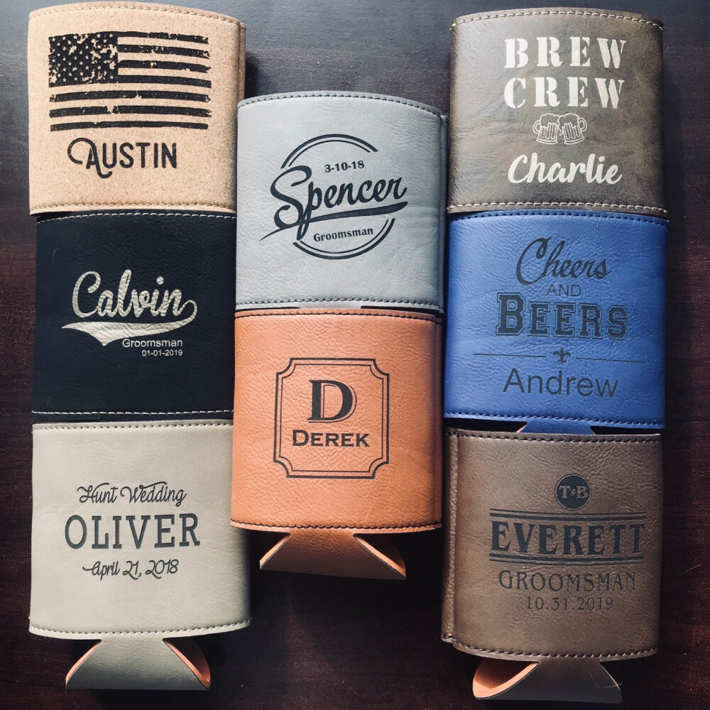Drink Coolers, Beer Cooler, Wedding Gift Leather, Party Gifts Wedding, Personalized Can Monogram Custom Favors