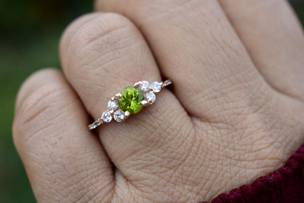 Peridot Ring, Cz Diamond Mother Daughter Ring Set, Stacking Ring, Statement Jewelry, August Birthstone, Gift For Her, Green Stone