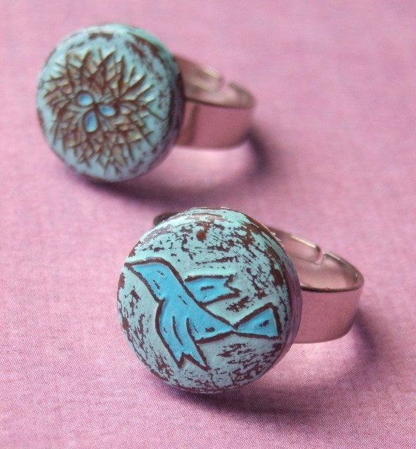 Mother Daughter Ring Set, Rustic Pastel Blue Bird Ring, Nest Gift, Wife Gift To From Mom