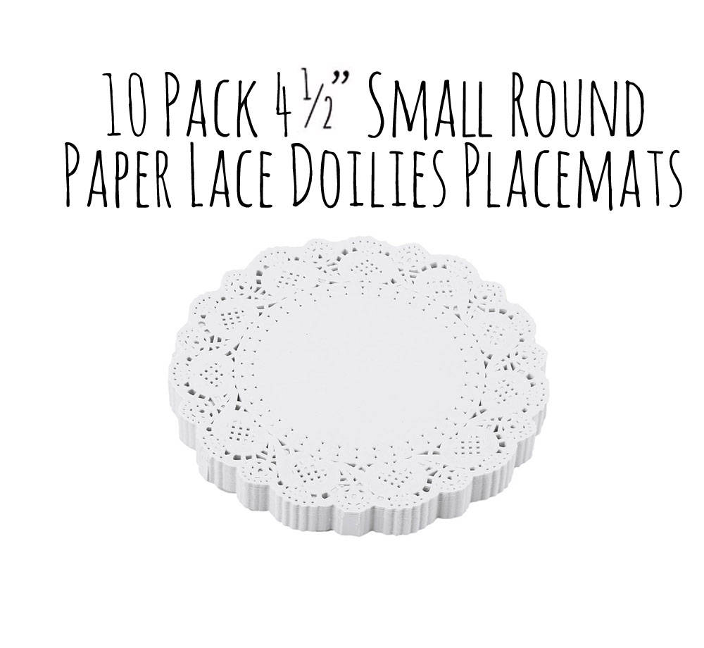 """Small 4"""" White Paper Lace Doily, Round Doilies, Coasters, Craft Supplies, Wedding Supply, Party Shabby Chic"""