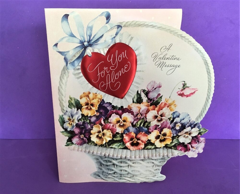 Vintage Valentine Card, Large 9x8 Basket Of Flowers, Pansies, Lace, Fancy 1940's Rust Craft Padded Satin