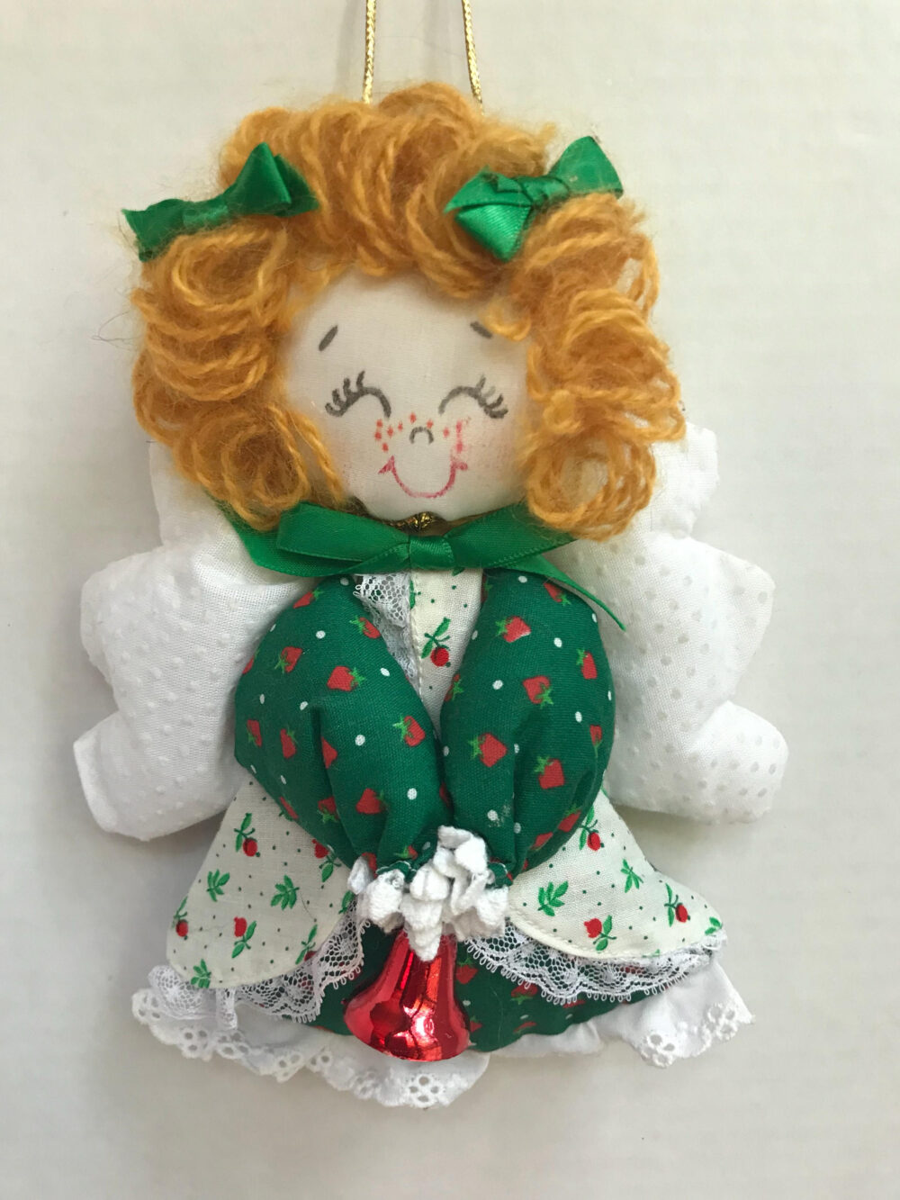 Handmade Angel Ornament... Amazing Details Bell Eyelet Lace Trim 1980's Holiday Decoration Gift Item Friend Mother Christmas
