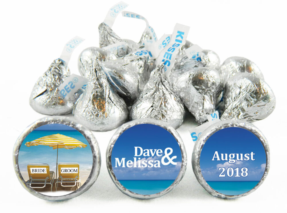 Beach Theme Personalized Wedding Stickers For Hershey's Kisses. Bride & Groom Labels Kisses - Party Favors Set Of 108