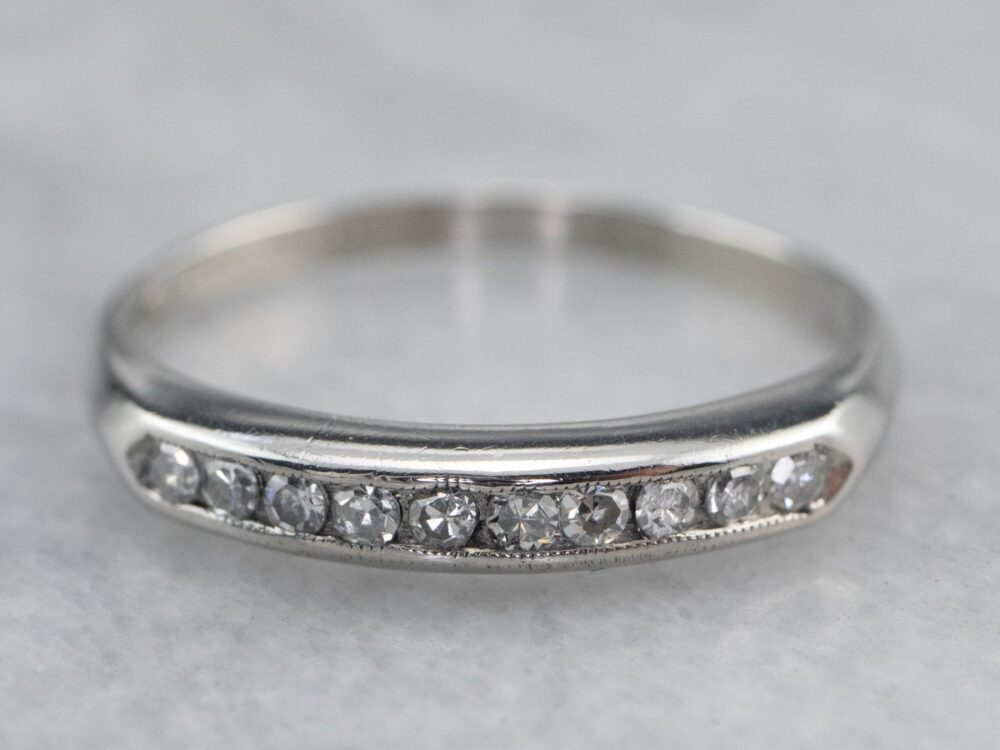 Channel Set Diamond Platinum Band, Wedding Anniversary Ring, 10 Stacking X5Zc9Wyj