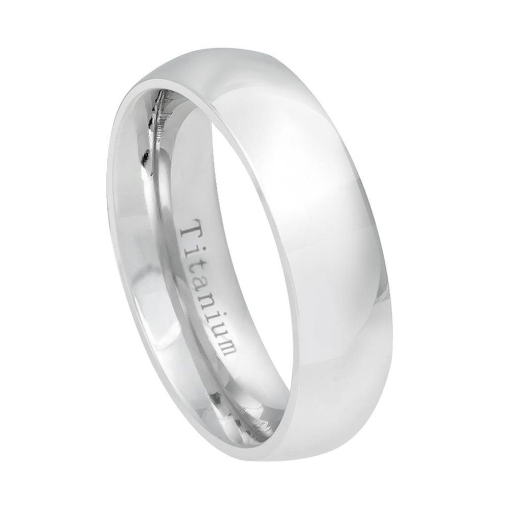Custom Engraving 6mm Titanium Band White Classic Domed Ring/Gift Box Ship From Usa(Jdti536