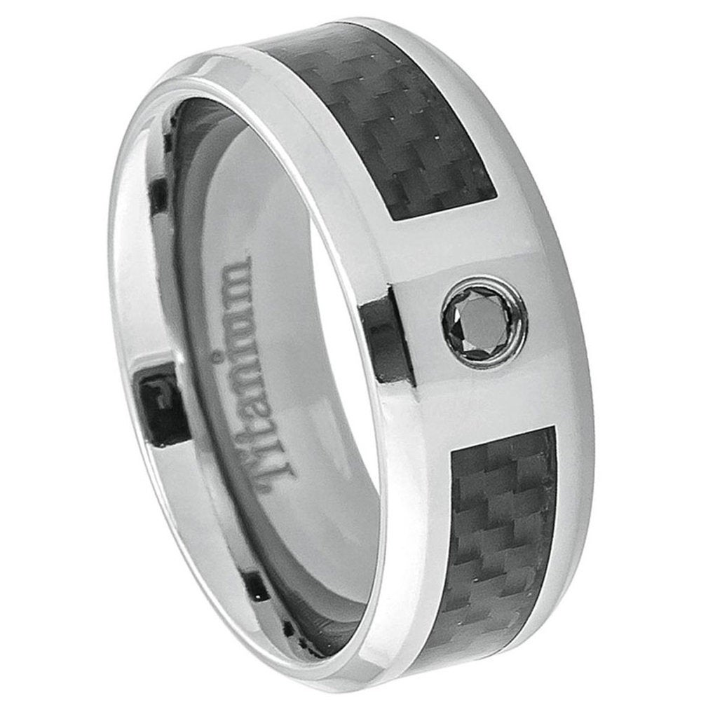 8mm Titanium Band Ring Carbon Fiber Inlay 0.07Ct Black Diamond(Jdti384