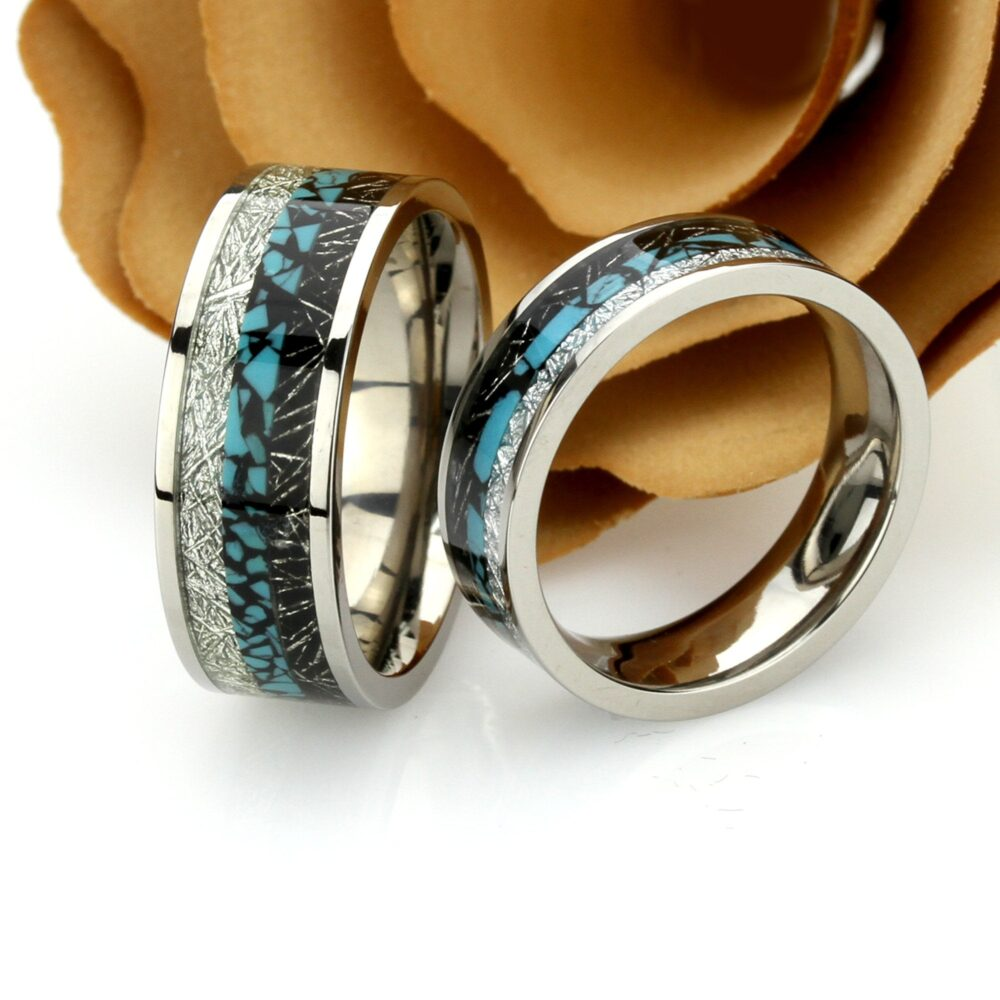 His & Hers Titanium Wedding Band Set, 8mm 6mm, Turquoise Inlay Imitated Meteorite Promise Ring Set For Couple